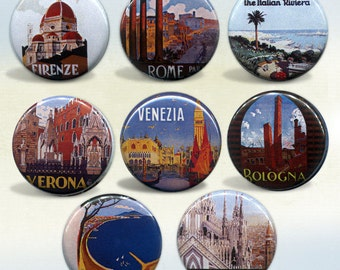 Italy Travel badges Set of 8 pin back buttons