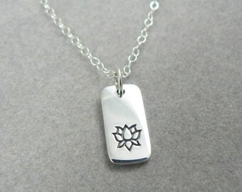 Lotus sterling silver tab charm necklace nature botanical yoga jewelry flower