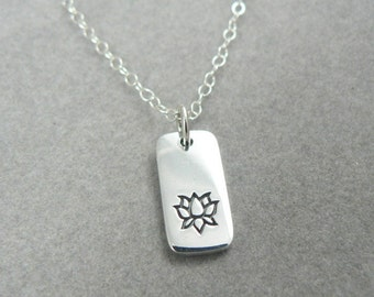 Lotus sterling silver tab charm necklace nature botanical jewelry flower