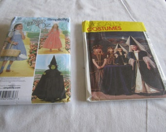 Two patterns to make Wizard of Oz costumes 3,4,5,6,7,8 and Renaissance princess and doll size 3,4,5