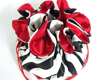 Wedding Bag Dollar Dance Bag  Satin Bridal Money Purse  Black and White Zebra  Lamour Satin with Red Lining No Pockets