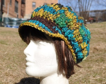 Women's Crochet Hat in Green, Brown and Turquoise - Crochet Newsboy Hat with Brim for Woman or Teenager - Winter Accessories