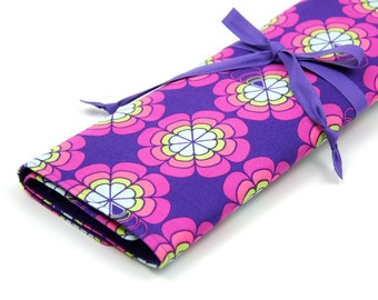 Knitting Needle Case - Love Me Knot - IN STOCK Large Organizer 30 purple pockets for straights, circulars, dpns and notions