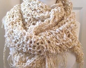 Crochet shawl scarf wrap in golden yellow and white slub cozy cotton fall chunky knit mustard cozy warm soft thick fringe boho gypsy