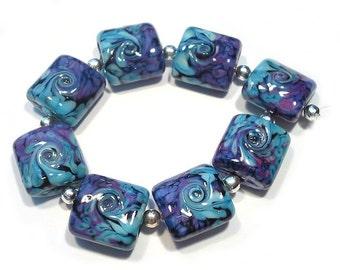 Handmade Glass Lampwork Beads,  Turkish Delight Twist Nuggets