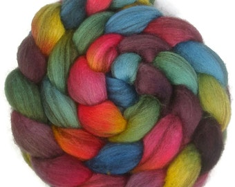 Handpainted Heathered BFL Roving - 4 oz. ARCADE - Spinning Fiber