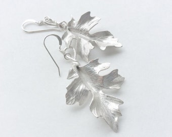 Sterling Silver Maple Leaf Earrings  - Made to Order