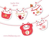 Printable Lucky Cats Banner PDF digital download Scrapbook Party Decorations