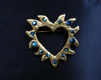 Hand Crafted Heart in Flames Brooch Gold Tone/Blue