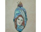 Siren of the Sea Mermaid and Dolphins Handmade and Hand Painted Pendant OOAK