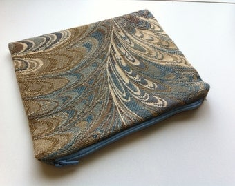 Blue Marbled Tapestry Floral Zipper Pouch Cosmetic Bag or Coin Purse