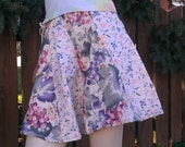 Upcycled Material Girly Swirly Skirt in white with Floral and Grape Patterns