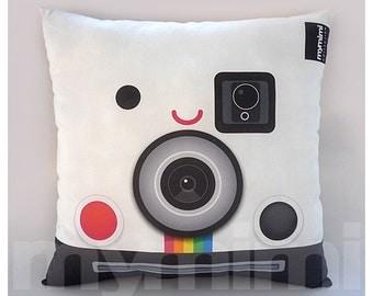 "12 x 12 "" Decorative Pillow, Geeky Pillow, Polaroid Camera, Retro Polaroid Camera, SX70, Old School, Office Decor"