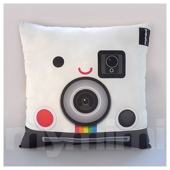Decorative Pillow, Geeky Pillow, Polaroid Camera, Retro Polaroid Camera, SX70, Old School, Office Decor, 16 x 16""
