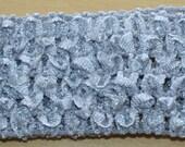 "Lot of 4 Crochet Headband Size 1.5"" Gray Silver"
