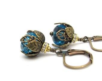 Blue Earrings, Ocean Blue, Glass Rhinestone Earrings, Crystal Wedding, Wedding Jewelry, Bridal Jewelry, Bridesmaid Earrings, Hawaii Beads