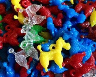 4pcs TINY POODLE CHARMS Vintage Plastic Limited Color Mix