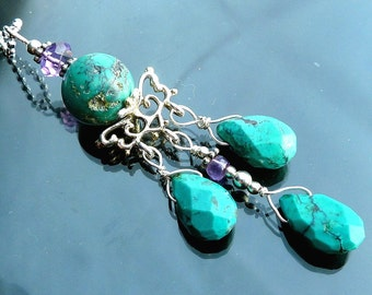 Victorian Turquoise Chandelier necklace vines crown briolettes purple amethyst in sterling silver