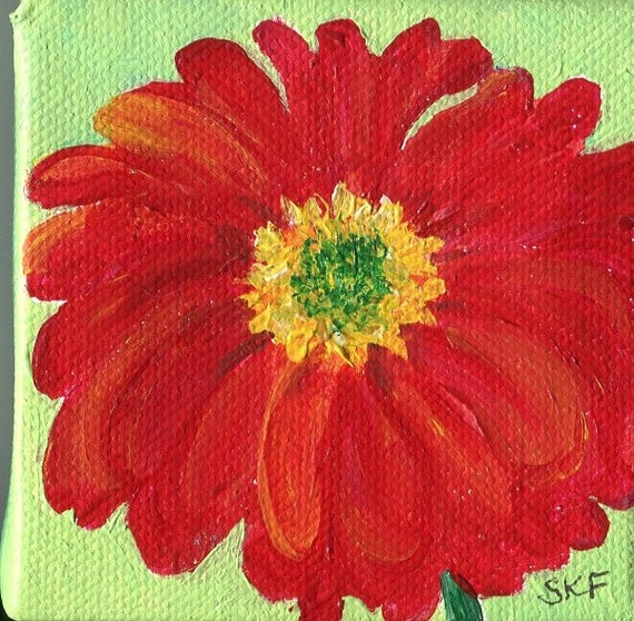 Original Red Zinnia  painting on mini canvas with Easel, 3 x  3