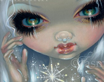 Faces of Faery 215 snowflake fairy face art print by Jasmine Becket-Griffith 6x6 winter christmas holiday