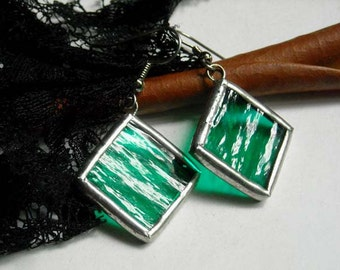 Stained Glass Earrings - Textured Green