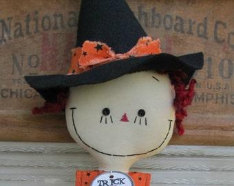 Halloween Witch handmade cloth rag doll in Orange and Black Stars