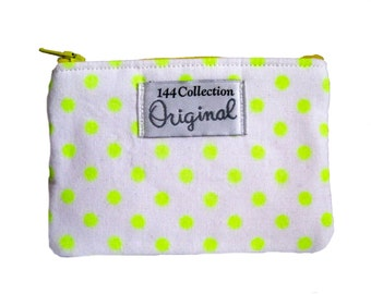 Small Neon Yellow Wallet, Yellow Neon Change Wallet, Change Purse, Coin Wallet, Fabric Wallet, Fabric Pouch, Neon Pouch, Zipper Wallet
