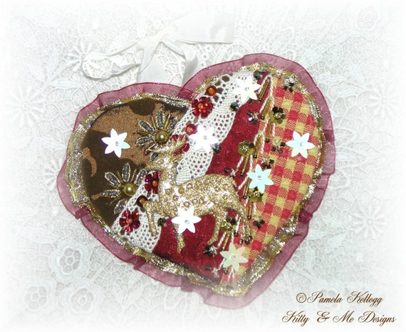 Crazy quilted christmas ornaments also designed by pamela kellogg of