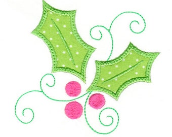 Holly Applique, Christmas Applique, Holly Embroidery, Christmas Embroidery, Holiday Applique, Machine Embroidery Design, Instant Download
