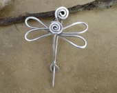 Little Aluminum Dragonfly Shawl Pin, Sweater Brooch, Scarf Pin, Fastener - Small Light Weight Aluminum Wire - Women, Knitting Accessories