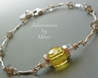 Yellow & Gray Bracelet Gemstones Monogram Bridesmaid Maid of Honor Earrings Sterling Silver