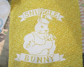 Snuggle Bunny Prayer Flag Bunting and Pennant in Yellow and Gray