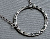 Circle Necklace - Sterling Silver Stamped flowers and spokes