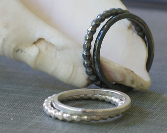 Sterling Silver Stacking Rings- set of 2 bands