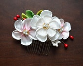 White and Pink Plum Tsumami Kanzashi. Custom gradation ume blossom comb. Made to Order.