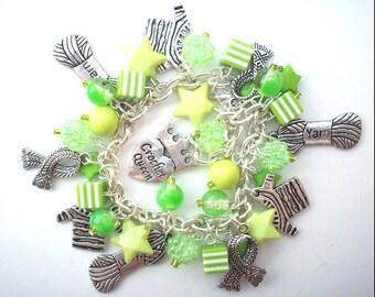 Loaded GREEN CROCHET QUEEN Charm Bracelet