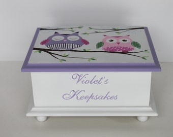 Baby Keepsake Box Baby Memory Box for girl lavender owls personalized hand painted baby gift