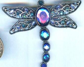 "GORGEOUS Silver Dragonfly Pendant with Deep Aqua Rhinestones 2 1/4x2 1/2"""