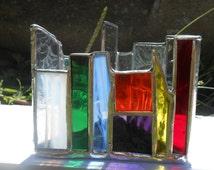 Triangle Shaped Rainbow Themed Stained Glass Candle Holder Single #2 tealight votive home office dorm studio yoga zen chakra peace