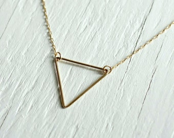 Gold Triangle Necklace on 14kt gold filled chain