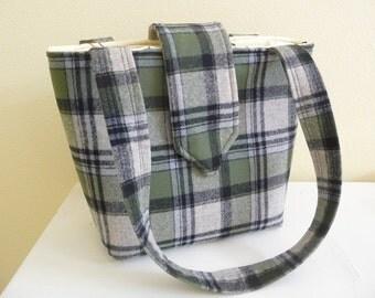 Green Plaid Wool Tote Bag, Bucket Bag, Shoulder Purse