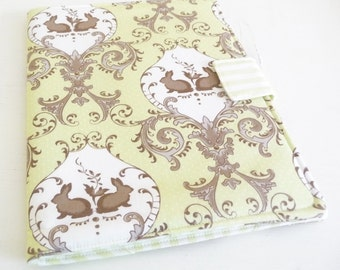 Romantic Rabbits Cover for Apple iPad 1, Book Style Case, Celery Green and Cream