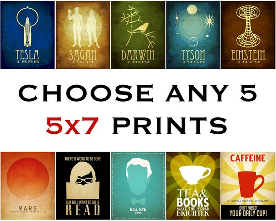 Geek Chic Art Prints Science Astronomy Book Lover Author Five 5x7 Posters Rock Star Scientist Kitchen Addictions
