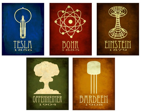 5x7 Steampunk Science Art Print 5 Rock Star Scientist Physics Diagram Educational Poster Geek Chic Tesla Edison Einstein Molecule Relativit
