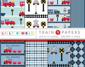40% off Train Collection Digital letter size 8.5x11 scrapbook papers blue and red trains, boys birthday paper INSTANT DOWNLOAD