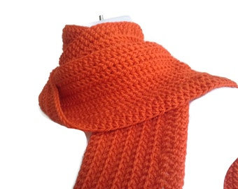 Bright Orange Wool Scarf Pumpkin Unisex Classic DRAKE Ready to Ship