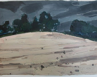 Turn, Original Landscape Painting on Paper, Stooshinoff