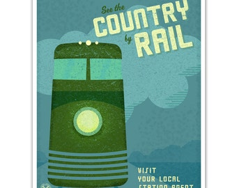 Train Wall Art- For Boys Room- Art Train Station Poster- See the Country- Kids Train Decor-Boys Room Art- Train Print- Train Poster- Boy Art