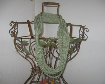 Frosty Green Crocheted Chain Scarf