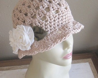 Beige Jute Brown Cream 100% Cotton Cloche 1920s Flapper Hat Rose